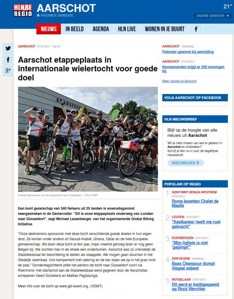 Press office - GBI - Global Biking Initiative - We cycle for